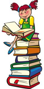 book stack girl